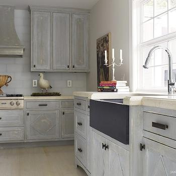 Distressed Ivory Kitchen Cabinets Design Ideas