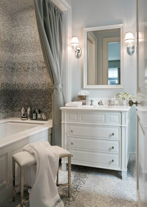 Silver Mosaic Tile - Transitional - bathroom - Sandra Nunnerley
