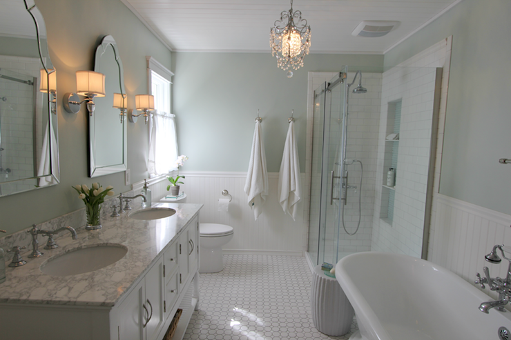 White And Green Bathroom Traditional