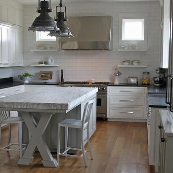 X Kitchen Island, Contemporary, kitchen, Pink Wallpaper