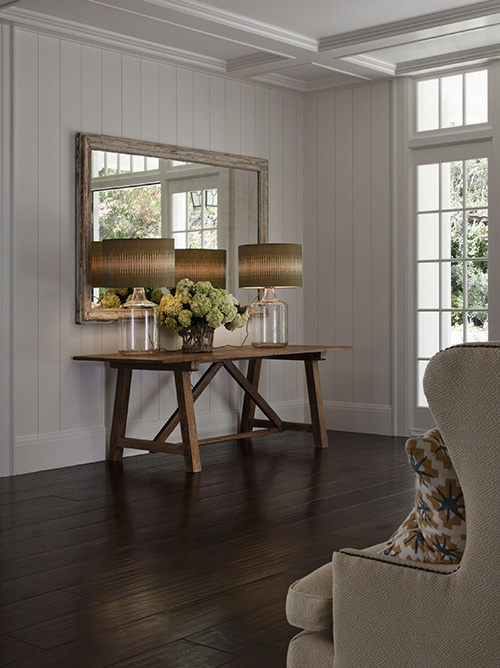 distressed dark wood floors distressed console table cottage entrancefoyer erin glennon