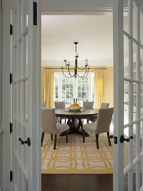 yellow dining chairs transitional dining room