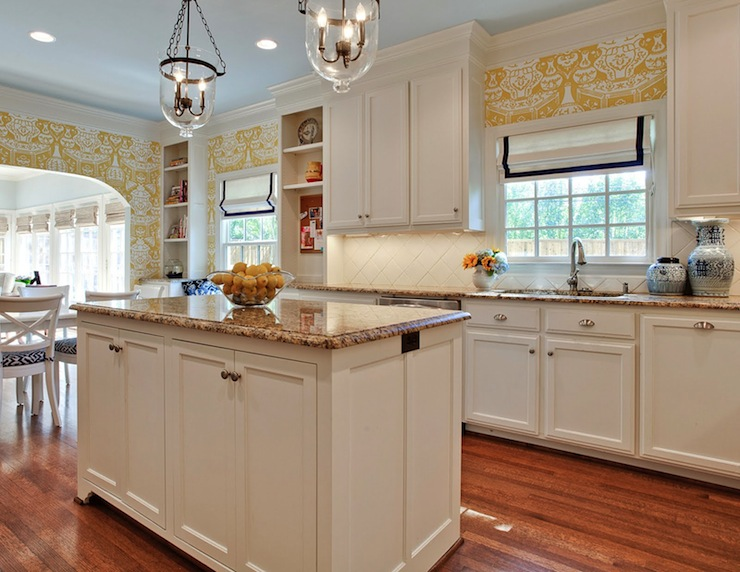 White Kitchen Cabinets with Granite Countertops - Transitional ...