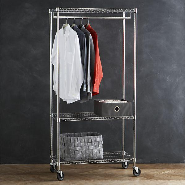 work mobile 3 shelf garment rack in laundry crate and barrel