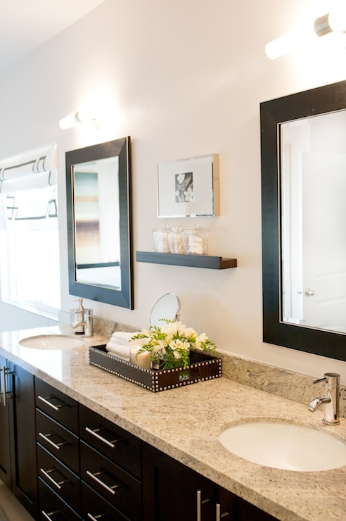View Full Size. Contemporary Bathroom Design With Espresso Framed Mirrors  ...