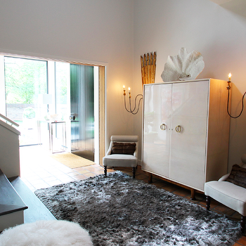 White Lacquer Cabinet, Contemporary, entrance/foyer, Lucy and Company