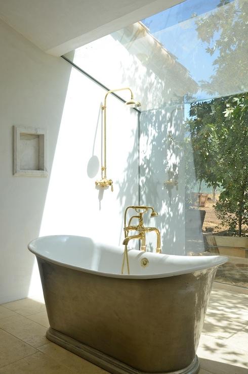 Brass Exposed Shower Fixture Eclectic Bathroom