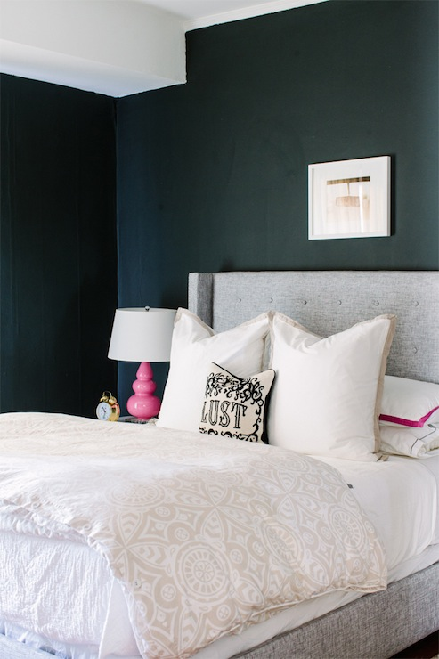 Gray Wingback Headboard Contemporary Bedroom Farrow