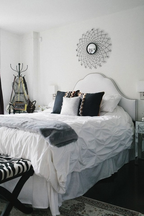White studded headboard contemporary bedroom the for Fur headboard