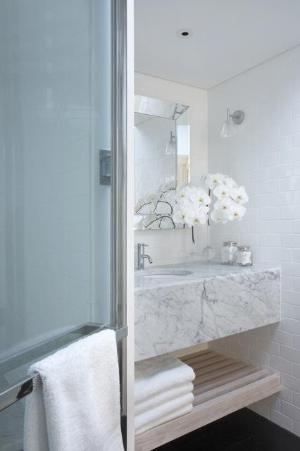 Floating Marble Vanity Contemporary Bathroom Burley