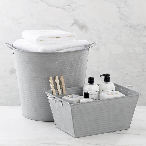 galvanized tub and bin in utility crate and barrel
