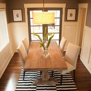 Black and White Striped Rug, Transitional, dining room, Ashley Winn Design