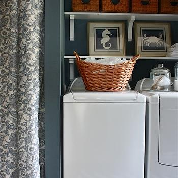 Laundry Room Shelves, Cottage, laundry room, Sherwin Williams Storm, Sarah Macklem Interiors