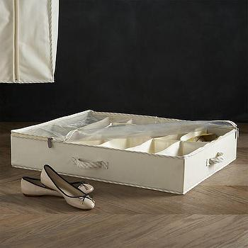 Twill Underbed Divided Storage with Ticking in Closet, Crate and Barrel