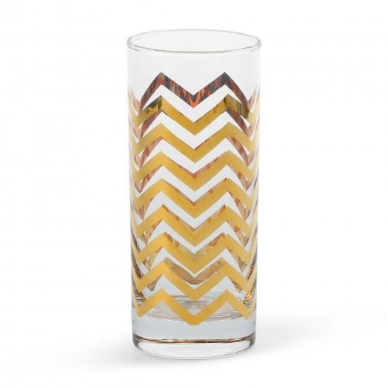 Golden Chevron Highball Glasses Set Of 4 C Wonder