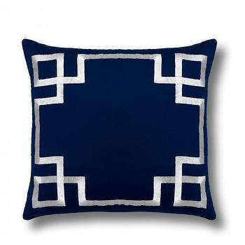 Embroidered Greek Keys Pillow Cover, C. Wonder