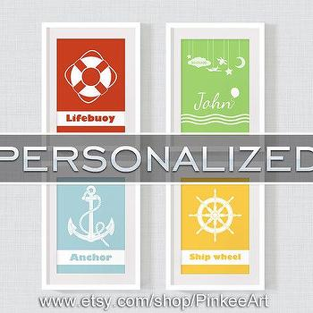 Childrens art personalized nautical decor anchor life by PinkeeArt