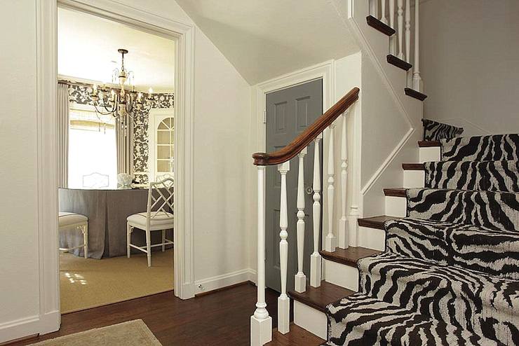 Entry Foyer Runner : Zebra stair runner transitional entrance foyer chandos interiors