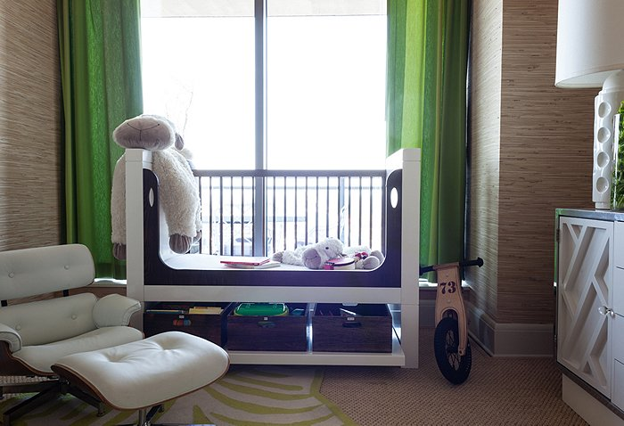 Sweet Boys Nursery Design With Tan Raffia Wallpaper Paired Green Curtains Framing Modern Two Tone Crib