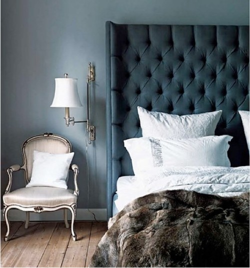 Blue Velvet Tufted Headboard Design Ideas