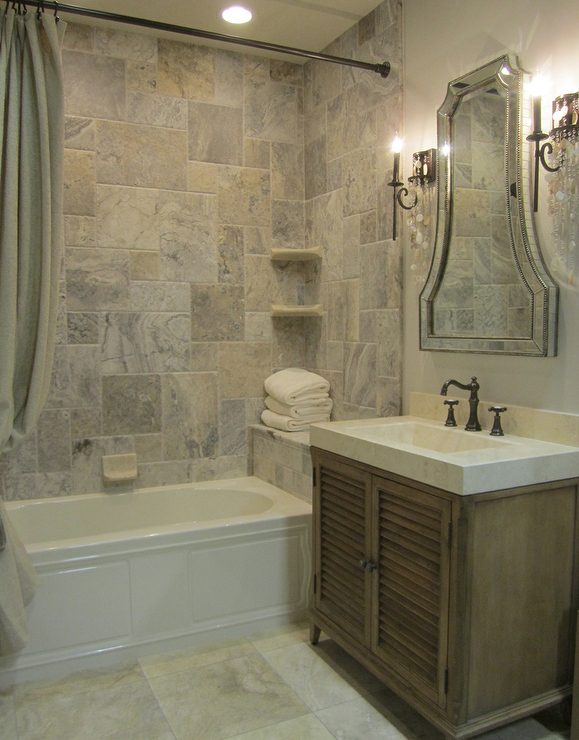 Silver travertine tile shower traditional bathroom for Travertine tile bathroom gallery