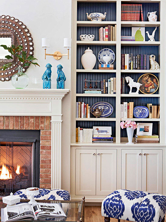 Pleasant Bookshelves Fill Nooks On Either Side Of Fireplace Design Ideas Home Interior And Landscaping Ponolsignezvosmurscom