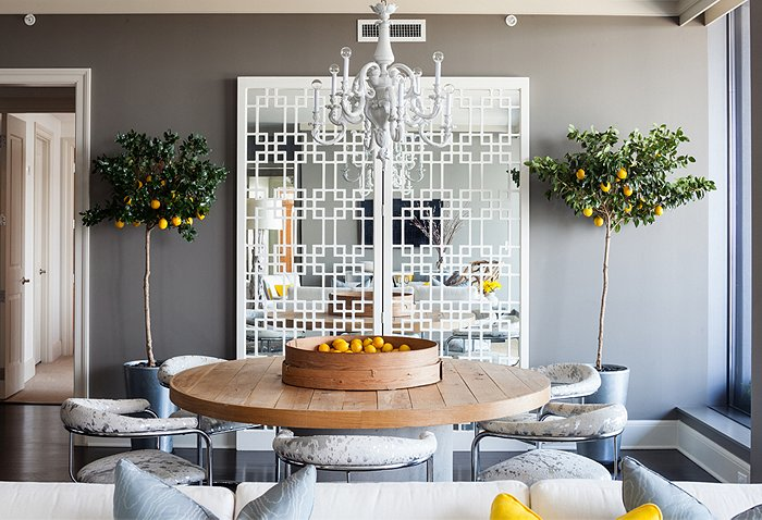 Gray and yellow dining room contemporary dining room for Grey yellow dining room ideas