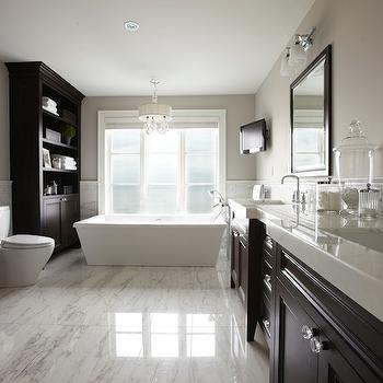 Espresso Vanity with White Marble Countertop, Contemporary, bathroom, Parkyn Design