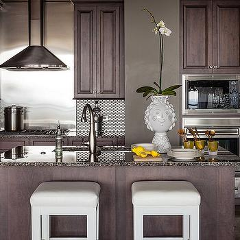 White granite countertops transitional kitchen for Chocolate kitchen cabinets with stainless steel appliances