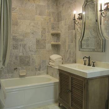 Silver Travertine Tile Shower, Traditional, bathroom