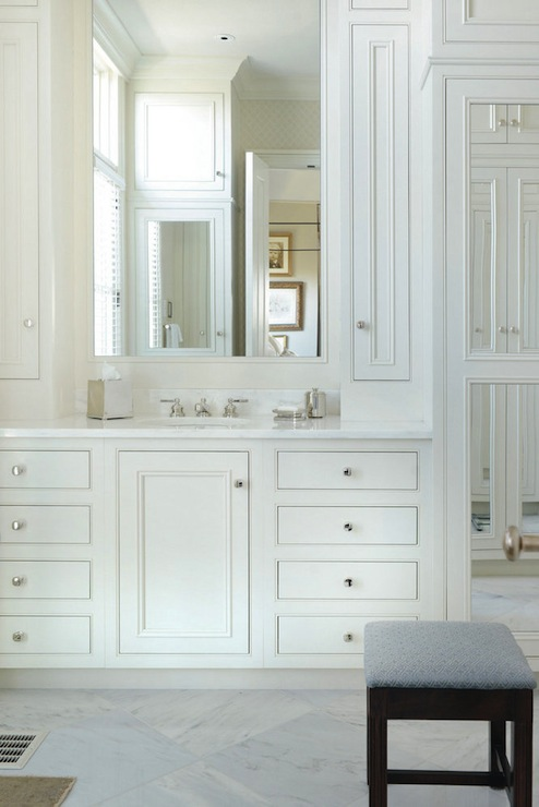 White Vanity With White Marble Top Traditional