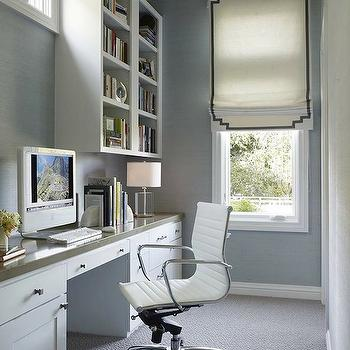 Green office contemporary den library office diane for Long narrow office layout