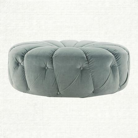 Silver Sage Giggy Pouf Ottoman view full size - Silver Velvet Acrylic Leg Ottoman