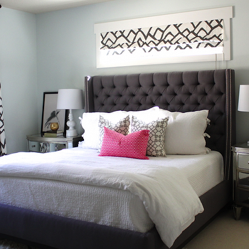 Gray Tufted Headboard with Nailhead Trim, Contemporary, bedroom, Danielle Oakey Interiors