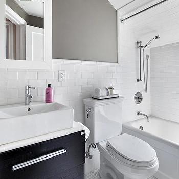 White Gray and Black Bathroom, bathroom, Clean Design Partners