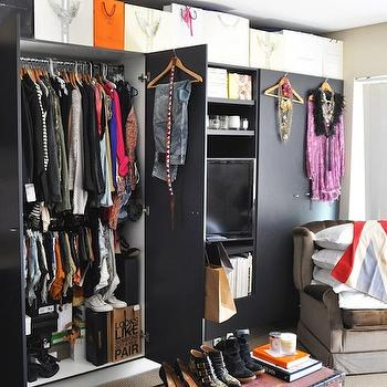 Black Wardrobe Cabinets, Contemporary, closet, They All Hate Us