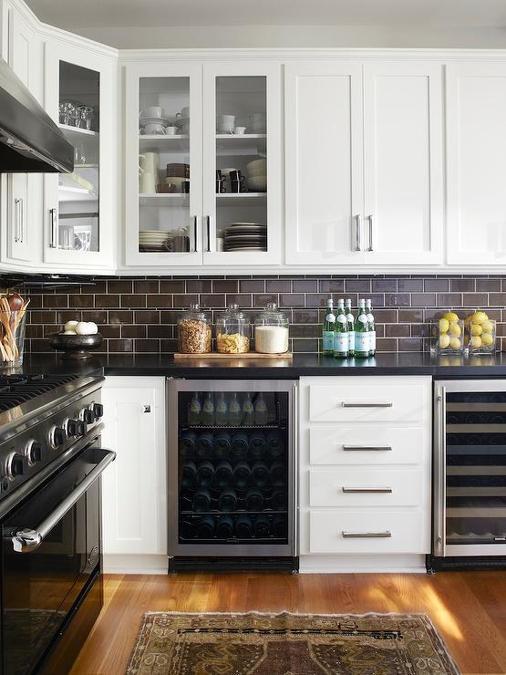Brown Subway Tile Transitional kitchen Urrutia Design