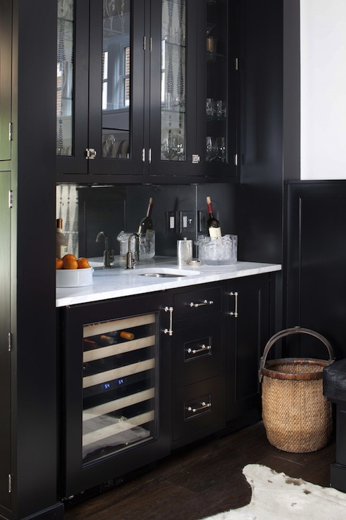 Stunning Black Butlers Pantry Design With Glass Front Upper Cabinets And Lower Wine Cooler Paired Carrara Marble