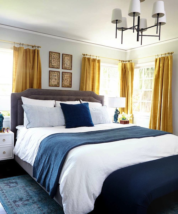 Gold curtains eclectic bedroom benjamin moore gray owl emily henderson - Grey and gold bedroom ...