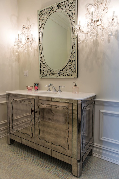 Bathroom Chandelier Sconces antiqued mirrored vanity - contemporary - bathroom - vanessa deleon