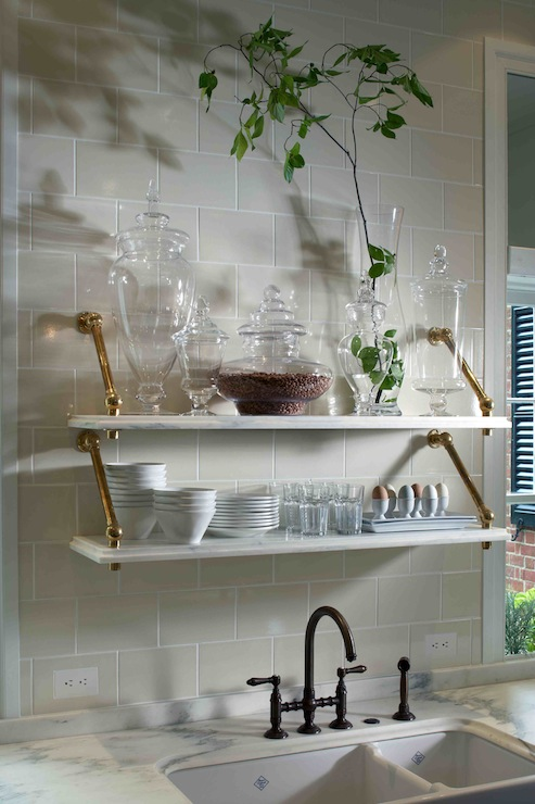 Marble Shelves Kitchen Traditional Kitchen Design