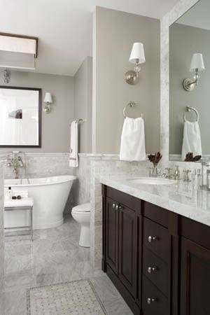 Benjamin Moore Coastal Fog Transitional Bathroom