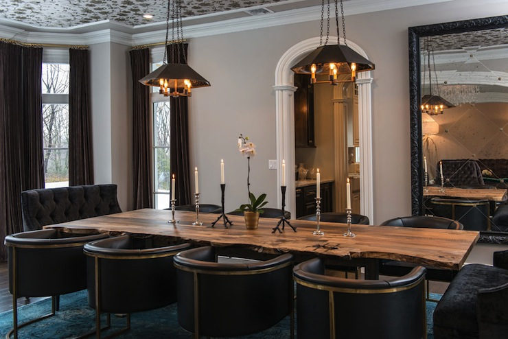 Black Tufted Dining Chairs Contemporary Dining Room Vanessa Deleon - Restoration hardware modern dining table