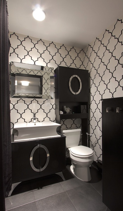 Black and white trellis wallpaper contemporary for Dark bathroom wallpaper