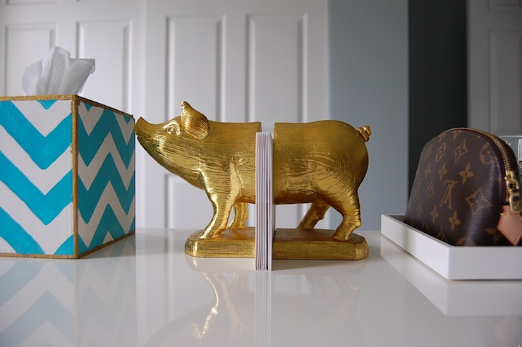 Office Vignette With Gold Pig Bookends
