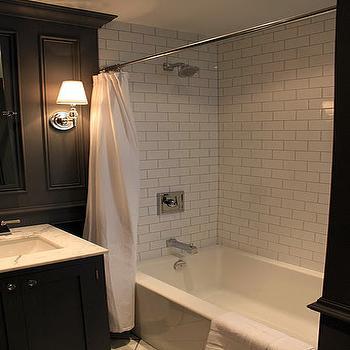 Subway Tile Shower Surround, Contemporary, bathroom, Benjamin Moore Asphalt, Ronces Reno Diary