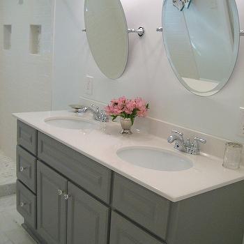 Gray Washstand, Transitional, bathroom, Martha Stewart Cement Gray, Ten June