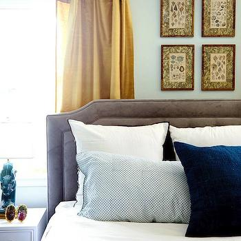 Gold Curtains, Eclectic, bedroom, Benjamin Moore Gray Owl, Emily Henderson