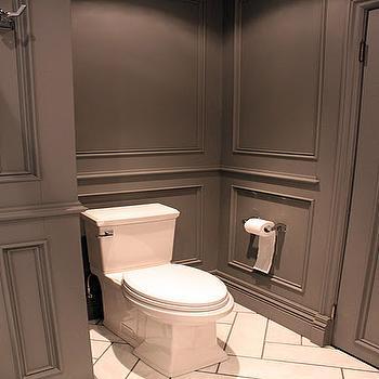 Gray Bathroom Design, Contemporary, bathroom, Benjamin Moore Asphalt, Ronces Reno Diary