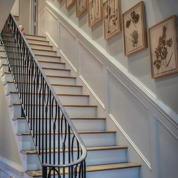 Stairwell Art Gallery View Full Size. Elegant Stairway With Iron Stair  Railings ...